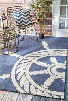 Breeze Nautical Wheel Indoor Outdoor Navy Rug   Contemporary Rugs #RugsUSA