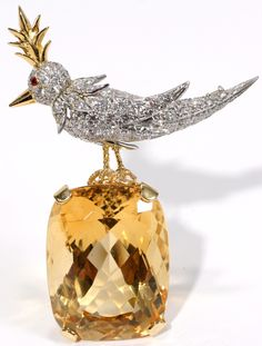 Jean Schlumberger for Tiffany & Co. 59.00ct Citrine & Diamond 'Bird On A Rock' Brooch | February 2008 | Saturday Sale