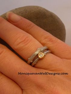 Twig Diamond ,Alternative engagement/wedding ring set in White gold and yellow gold Made to order Engagement Wedding Ring Sets, Wedding Rings, Twig Ring, Diamond Alternatives, Wide Band Rings, Figure It Out, Gold, Etsy, Jewelry