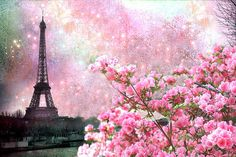 Dreamy Paris Eiffel Tower Spring Flowers Poster By Kathy Fornal