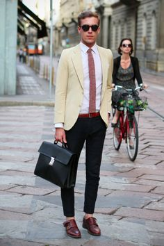 filippocirulli:    I was wearing:    Prada Saffiano briefcase  vintage jacket and shirt  Gordon double monk by 59Bons Street  Spitfire shades