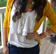 Mustard yellow sweater and ruffle shirt
