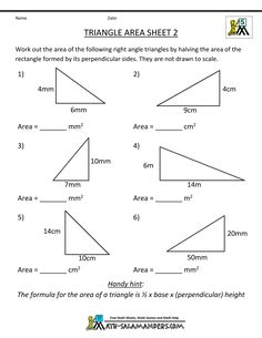 Printables Area Of A Triangle Worksheet area of a triangle worksheets 7th grade click on the sample sheet 2 answers