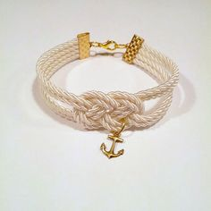 Love! Ivory cream double infinity knotted nautical rope by ammame33