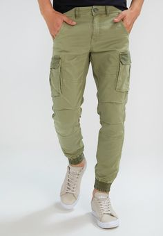 GAS BOB GYM MIX - Cargo trousers - khaki - Zalando.co.uk