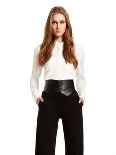 Donna Karan NY Fall Preview 2012 Band Collar Tunic With Two Pockets, Leather belt and High Waisted Trousers