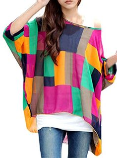 Womens Floral Batwing Sleeve Beach Loose Blouse Tunic Top Colorful