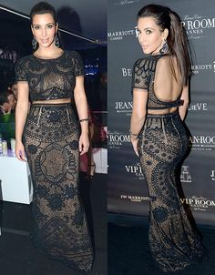 Kim Kardashian was visited at Sean Diddy Combs yacht party in Cannes on May 22 2012 in a Black lace Emilio Pucci ensemble (with an exposed midriff and open back) and enormous Lorraine Schwartz black and white diamonds baubles.