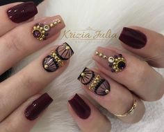 Perfect for glam autumn :) Creative Nail Designs, Pretty Nail Designs, Creative Nails, Nail Art Designs, Gorgeous Nails, Pretty Nails, Modern Nails, Luxury Nails, Diamond Nails
