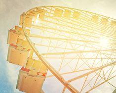 Sun Through the Wheel - Jersey Shore Ferris Wheel - Yellow Nursery Wall Decor - Fine Art Photograph 8x10