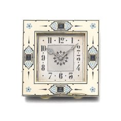 Gold, enamel, sapphire and diamond desk clock, Cartier, 1930s The square guilloché dial with Arabic numerals, the hands millegrain-set with rose diamonds, the frame decorated with blue and black en plein enamel and millegrain-set with sapphires, measuring approximately 80 x 80 x 10.50mm, signed Cartier, numbered, French assay and maker's marks.