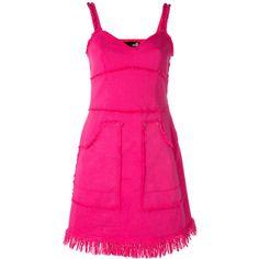 Love Moschino Frayed Seam Denim Dress ($247) ❤ liked on Polyvore featuring dresses, love moschino dress, love moschino, pink dress and denim dress
