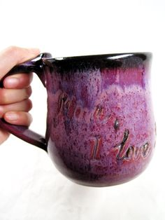 "Big & Purple!!  ""Personalized mug pottery coffee mug by Ningswonderworld, $25.00"""