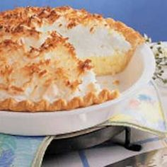 Coconut Cream Meringue Pie Recipe -Every fifth Sunday at our country church, we have a hymn sing and potluck dinner. I always bring this pie, and it goes fast. It's definitely a favorite.