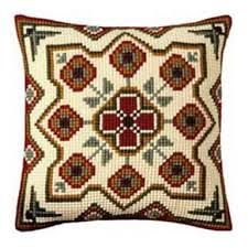 """""""Geometrical"""" counted cross-stitch cushion kit by Vervaco ( Cross Stitch Supplies, Cross Stitch Kits, Cross Stitch Designs, Cross Stitch Embroidery, Cross Stitch Patterns, Needle Cushion, Cross Stitch Cushion, Tapestry Kits, Easy Stitch"""