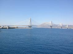 Rio–Antirrio bridge connects Greece land with Pelopones The 2,880 m (9,449 ft) long bridge (approximately 1.8 miles) - the biggest hanging bridge