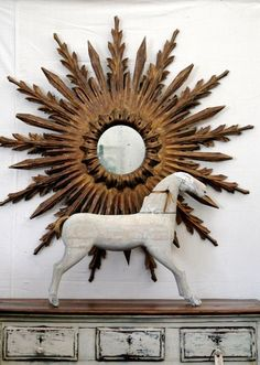 Sunburst Mirror for Home Decor with antique horse  From willows95988.typepad.com