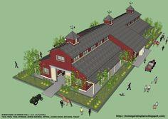 home garden plans: B20H - Large Horse Barn for 20 Horse Stall - 20 Stall Horse Barn Plans - Perfect Plans for Construction