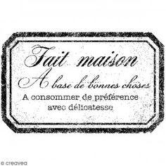 Tampon bois Etiquette Fait-maison - 5,5 x 4,3 cm