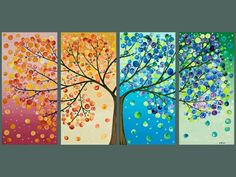 Tree painting Four season tree Original artwork gift for couple wall art canvas art four seasons tree - by qiqigallery Diy And Crafts, Arts And Crafts, Art Diy, Art Plastique, Artsy Fartsy, Art Projects, Welding Projects, Canvas Art, Tree Canvas