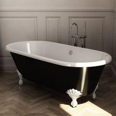 Baignoire Ilot en fonte, 170x77 cm, peinte en noir, pieds blancs, London