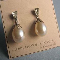 Vintage Drop Pearl Earrings  Signed Lewis by LoveHonorUpcycle
