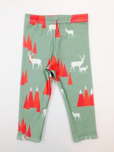 MOUNTAIN DEER Holiday Leggings, organic cotton, kids clothes, hipster baby