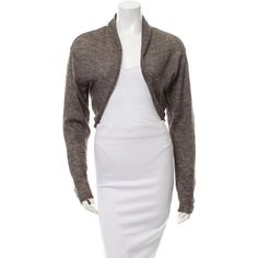 Pre-owned Calvin Klein Collection Knit Bolero Cardigan ($85) ❤ liked on Polyvore featuring tops, cardigans, brown, brown cardigan, brown tops, brown knit cardigan, brown open front cardigan and calvin klein collection