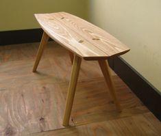 タモ無垢材の小さなベンチ ササフネベンチ うたたねの家具
