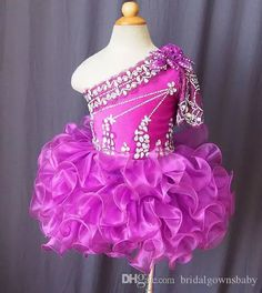 Lovely One Shoulder Short Oranza Ball Gowns Fuchsia Girl'S Pageant Dresses With Beaded Rhinestone Birthday Party For Kids Big Events Pageant Dress For Little Girls Pageant Dress Girl From Bridalgownsbaby, $40.2  Dhgate.Com