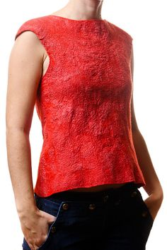 Red blue nuno felted blouse two sided textured by jezek on Etsy, $112.00