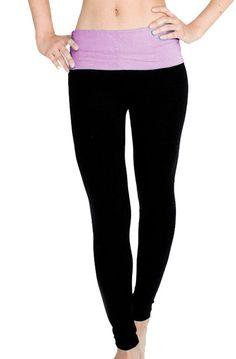 c871da78e0209 Popular Basics Womens Athletic Yoga Leggings with Fold Over Waist Large  Black Lavender ** Visit