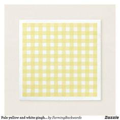 Shop Pale yellow and white gingham napkins created by FarmingBackwards. Ecru Color, Corner Designs, Cocktail Napkins, Paper Napkins, Gingham, Retro Vintage, Lemon, Hands, Yellow
