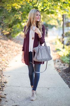Blonde Expeditions Burgundy Cardigan Fall Inspiration .