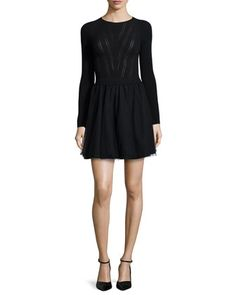 Long-Sleeve Knit Top Dress W/ Tulle Skirt  by RED Valentino at Neiman Marcus.