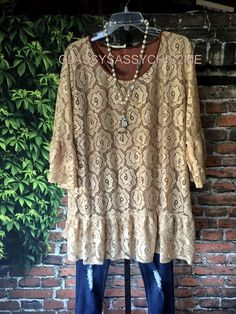 Roses Festival Lace Brown-Mocha Blouse & Tops Lined Babydoll New Plus Size 1x #sccs #Tunic