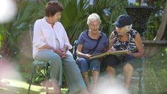 Senior women relaxing in retirement villa garden