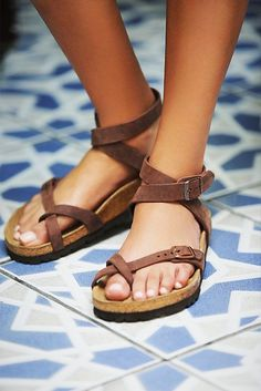 Yara Birkenstock Elegant sandal with an adjustable ankle strap and toe loop. Features the Birkenstock classic footbed and shock-absorbing EVA sole. Flirty, fashionable, and fun. *By Birkenstock Sock Shoes, Cute Shoes, Women's Shoes, Me Too Shoes, Shoe Boots, Ankle Boots, Strappy Shoes, Timberland Boots, Crazy Shoes
