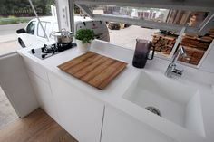 A brilliant wee white kitchen from the Vodafone Tiny House - Tiny House Swoon, Small Tiny House, Tiny House Living, Tiny House Plans, Small Living, Tiny Houses, Caravan Living, Mobile Home Living, Small Places