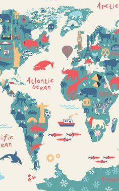 Kids World Map Wallpaper Mural Wallpaper Mundo, World Map Wallpaper, Nursery Wallpaper, Travel Wallpaper, Wallpaper Backgrounds, Wallpaper Ideas, World Map Mural, Kids World Map, World Maps