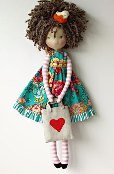 Beautiful bendy doll to makeru Inspired by illustration done by OF Echi. Teaches you how to create a doll from scratch! Pretty Dolls, Cute Dolls, Beautiful Dolls, Fabric Doll Pattern, Doll Patterns, Doll Crafts, Diy Doll, Handmade Baby, Handmade Toys