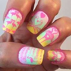 Flamingos  polishes used #chinaglaze In Lily bite, Highlight of my summer, #fingerpaints Frosty lemonade #mundodeunas Orchid-55, stamping plate #moyou_london Tropical-16