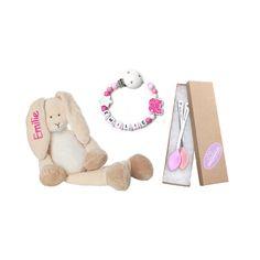 BABY WELCOME SET   HASE   KETTE   SICHERHEITSLÖFFEL FÜR MÄDCHEN Hand Gestempelt, Teddy Bear, Baby, Toys, Animals, Rabbit Ears, Cuddling, Handmade, Activity Toys