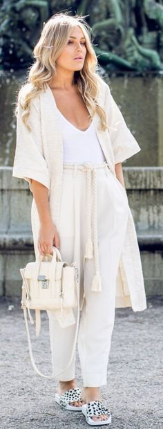 #spring #fashion #outfitideas |All Cream + Pop Of White and Spots | Angelica Blick