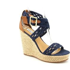 Steve Madden Magestee Platform Wedge Sandals Shoes Blue Womens... ($36) ❤ liked on Polyvore