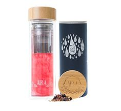 AIRA Tea Infuser Glass Bottle Tumbler - A Large Loose Leaf Tea Infuser With A Stainless Steel Strainer & Premium Glass Steeper Cup For Easy Tea Infusion, Fruit Infusion, Hot Tea, Ice Tea - 450ml >>> Click on the image for additional details.