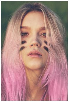 pink hair and war paint for painting ideas