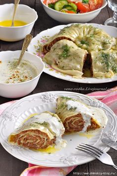 Katlama is a traditional Tatar dish, served in a traditional style.- Katlama is a traditional Tatar dish, which is a steamed roll of unleavened pastry with filling. Filling for katlama can be meat, meat with potatoes, pumpkin and even cottage cheese … - Baby Food Recipes, Chicken Recipes, Cooking Recipes, Healthy Recipes, Russian Recipes, Italian Recipes, Queens Food, European Dishes, Healthy Baby Food