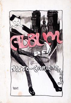 Cuberta do Álbum de Auto-caricaturas, ca. 1903-1907. Debuxo a tinta s/ papel, 33,5 x 22,8 cm. Fundación Penzol - Biblioteca (Vigo)