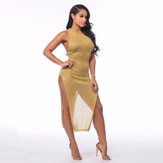 This is a Egyptian Goddess Crew Neck Transparent Fit Dress which features a slight transparent design leaving little to the imagination. You can pull this look off with a bathing suit or with a crop top and shorts. Pair with gold heels and its a done deal.    Product Description:  - Crew Neck Style  - Nice Slim Fit Design  - Crafted from Polyester and Knitting Cotton Fabric  - Maxi Dress Length    Model Stats:  Model is wearing a Size Small    Shipping:All products that are in our US…